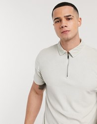Topman Co Ord Towelling Half Zip Polo In Off White