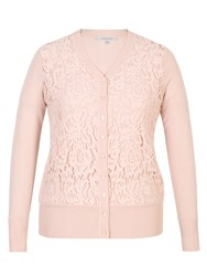 Chesca Corded Lace Trim Cardigan Pink
