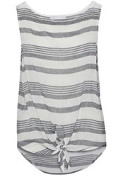 Kain Label Knotted Striped Cotton Gauze Top Dark Gray