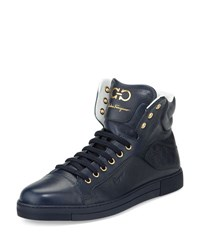Salvatore Ferragamo Stephen 2 Calfskin High Top Sneaker Navy Blue