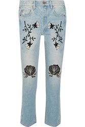 Bliss And Mischief Conjure Embroidered High Rise Straight Leg Jeans Light Denim