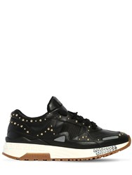 Versace Studded Leather Sneakers Black