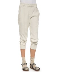 Brunello Cucinelli Woven Wool Jogger Pants Women's Vanilla