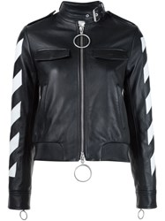 Off White Striped Sleeve Leather Jacket Black