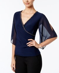Msk Embellished Flutter Sleeve Faux Wrap Top Deep Navy