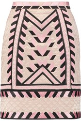 Temperley London Anfisa Embroidered Quilted Silk Mini Skirt Pastel Pink