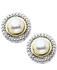 Macy's Sterling Silver And 14K Gold Earrings Cultured Freshwater Pearl And Diamond Accent Stud Earrings