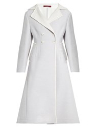 Sies Marjan Double Breasted Wool Blend Coat Light Blue