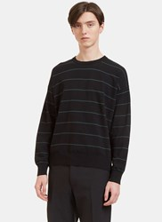 Ami Alexandre Mattiussi Striped Ribbed Knit Sweater Black