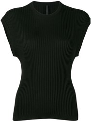 Sara Lanzi Ribbed T Shirt Black