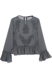 W118 By Walter Baker Beth Embroidered Chiffon Top Petrol