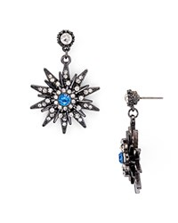 Aqua Indigo Starburst Drop Earrings Gunmetal