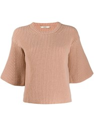Odeeh Short Sleeved Knitted Top Pink