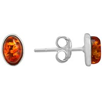 Goldmajor Amber And Silver Stud Earrings Silver Amber