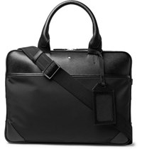 Montblanc Sartorial Jet Nylon Panelled Cross Grain Leather Briefcase Black