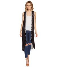 Steve Madden Duster Vest With Tassel Trim Black Women's Vest