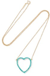 Jennifer Meyer Open Heart 18 Karat Gold Turquoise Necklace