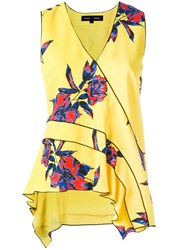 Proenza Schouler Sleeveless Floral Print Top Yellow Orange