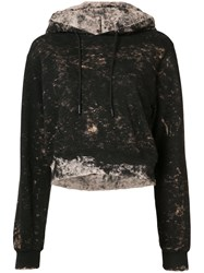Cotton Citizen Distressed Cropped Hoodie Women M Black