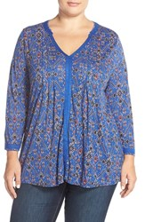 Plus Size Women's Lucky Brand 'Vintage Muse' V Neck Top Blue Multi