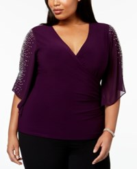Msk Plus Size Embellished Surplice Top Luxe Plum
