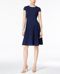 Alfani Lace Fit And Flare Dress Only At Macy's Navy Nautical