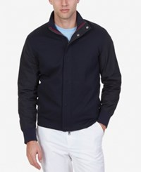 Nautica Men's Zip Front Colorblocked Track Jacket True Navy