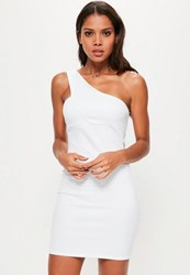 Missguided White One Shoulder Strap Detail Bodycon Dress
