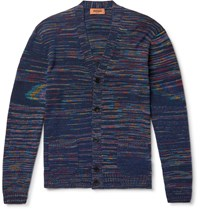 Missoni Space Dyed Cashmere And Wool Blend Cardigan Blue