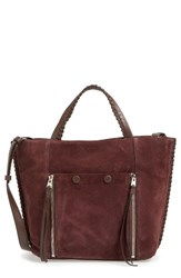 Allsaints Fleur De Lis East West Suede Tote Purple Prune