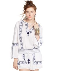Denim And Supply Ralph Lauren Embroidered Gauze Romper White