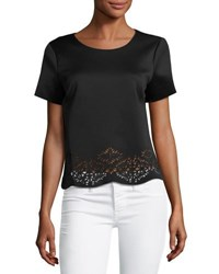 Philosophy Laser Cut Crewneck Top Black