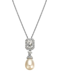 Arabella Bridal Cultured Freshwater Pearl 6Mm And Swarovski Zirconia 2 3 8 Ct. T.W. Pendant Necklace In Sterling Silver White