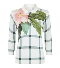 Ted Baker Trellis Floral Checked Collared Sweater Female Cream