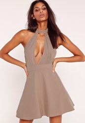 Missguided Choker Skater Dress Brown Mauve