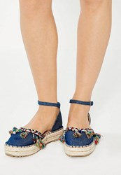 Missguided Navy Denim Tassel Flatform Espadrilles Blue