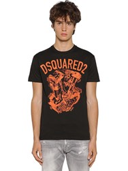 Dsquared Printed Cool Guy Cotton Jersey T Shirt Black