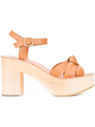Loeffler Randall 'Elsa' Sandals Women Leather Wood 6 Brown