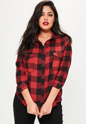 Missguided Plus Size Red Frayed Hem Checked Shirt