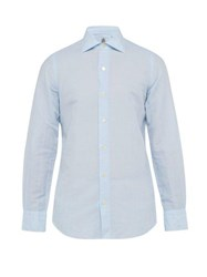 Finamore 1925 Seattle Cotton And Linen Blend Shirt Blue