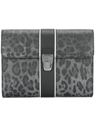 Dolce And Gabbana Leopard Print Clutch Grey