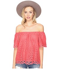 Bb Dakota Curren Lace Off The Shoulder Top Valentine Red Women's Clothing