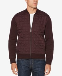 Perry Ellis Men's Quilted Ponte Knit Full Zip Sweater Port