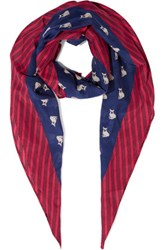 Marc By Marc Jacobs Printed Cotton And Silk Blend Scarf Navy