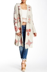 Biya Embroidered Knit Long Cardigan Beige