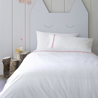 Christy Pom Pom Trim Duvet Set Coral Pink