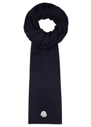 Moncler Navy Ribbed Wool Scarf