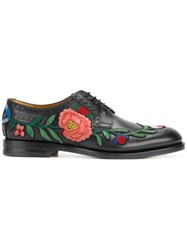 Gucci Floral Embroidered Brogues Leather Black