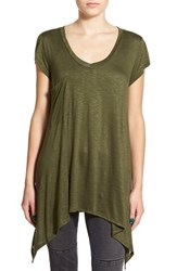 Junior Women's Sun And Shadow Pocket Long Tee Olive Burnt