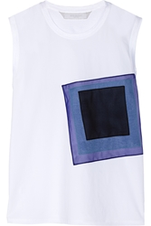 Reed Krakoff Appliqued Cotton Poplin And Stretch Cotton Jersey Top
